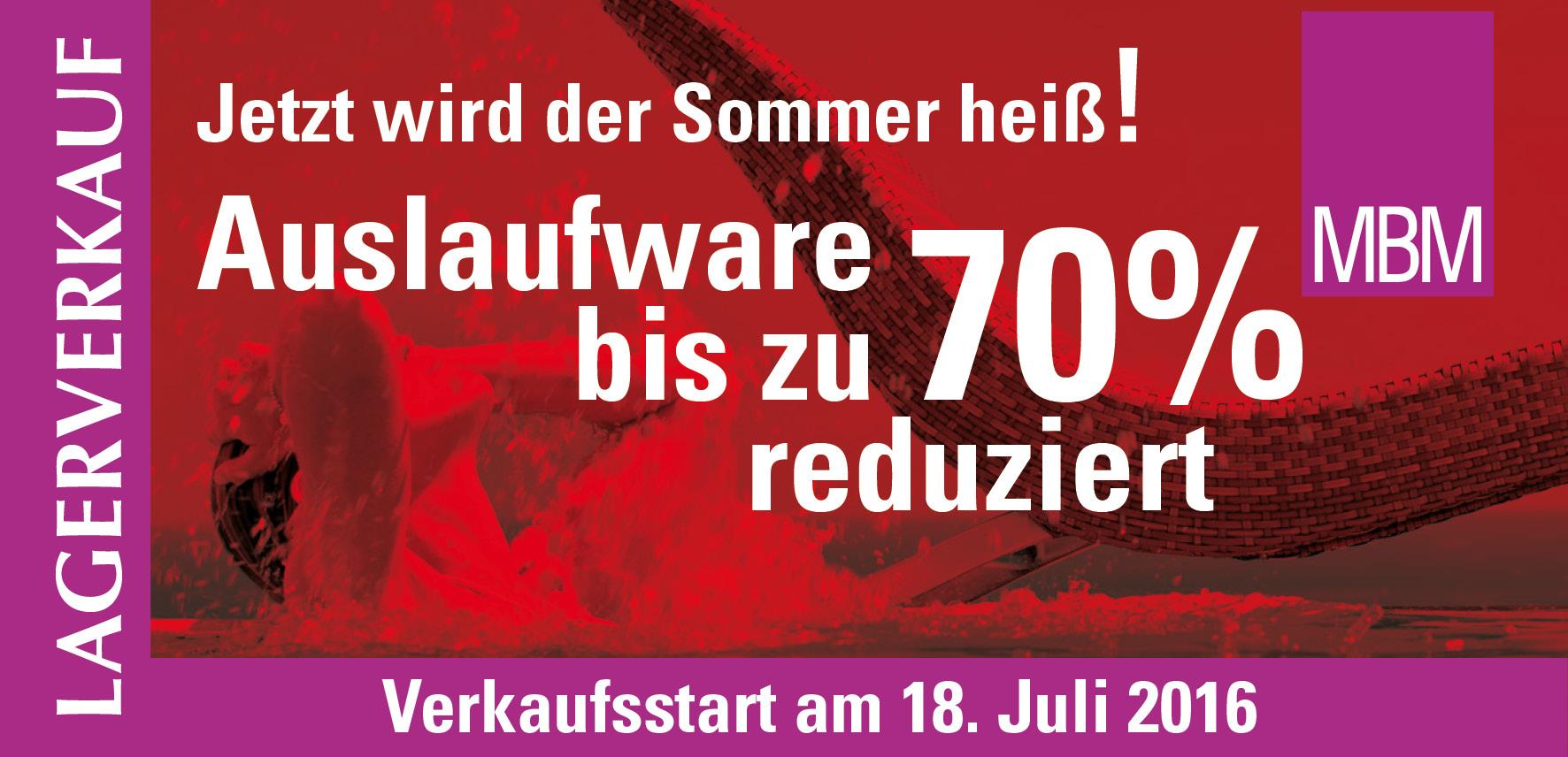 Lagerverkauf von Auslaufware bis zu 70% reduziert