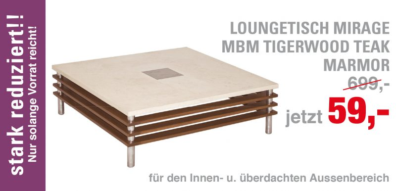 Loungetisch Mirage Tigerwood, Marmor