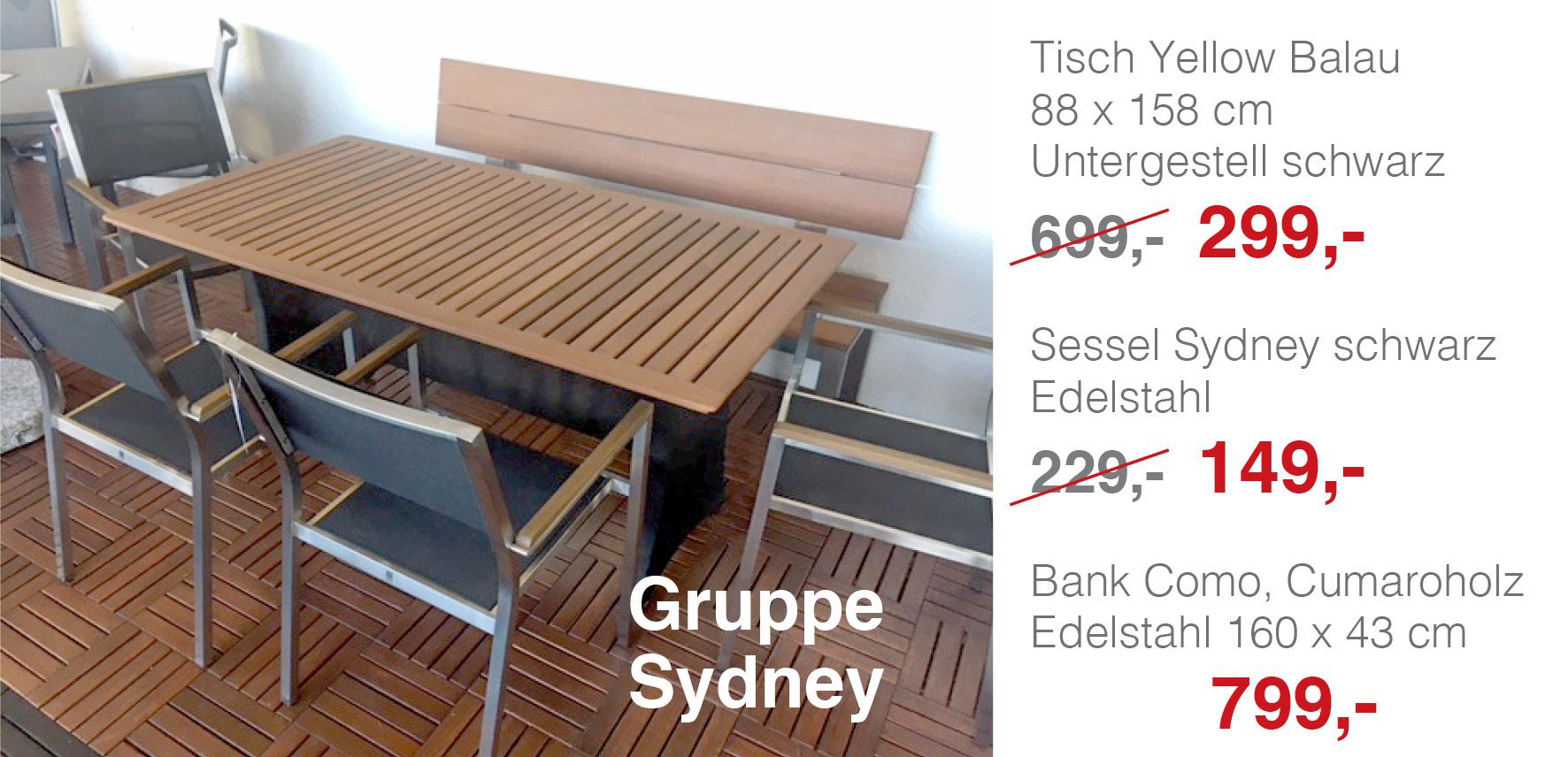 Gruppe Sydney - Bank Como, Cumaroholz, Edelstahl - MBM Gartenmöbel ...