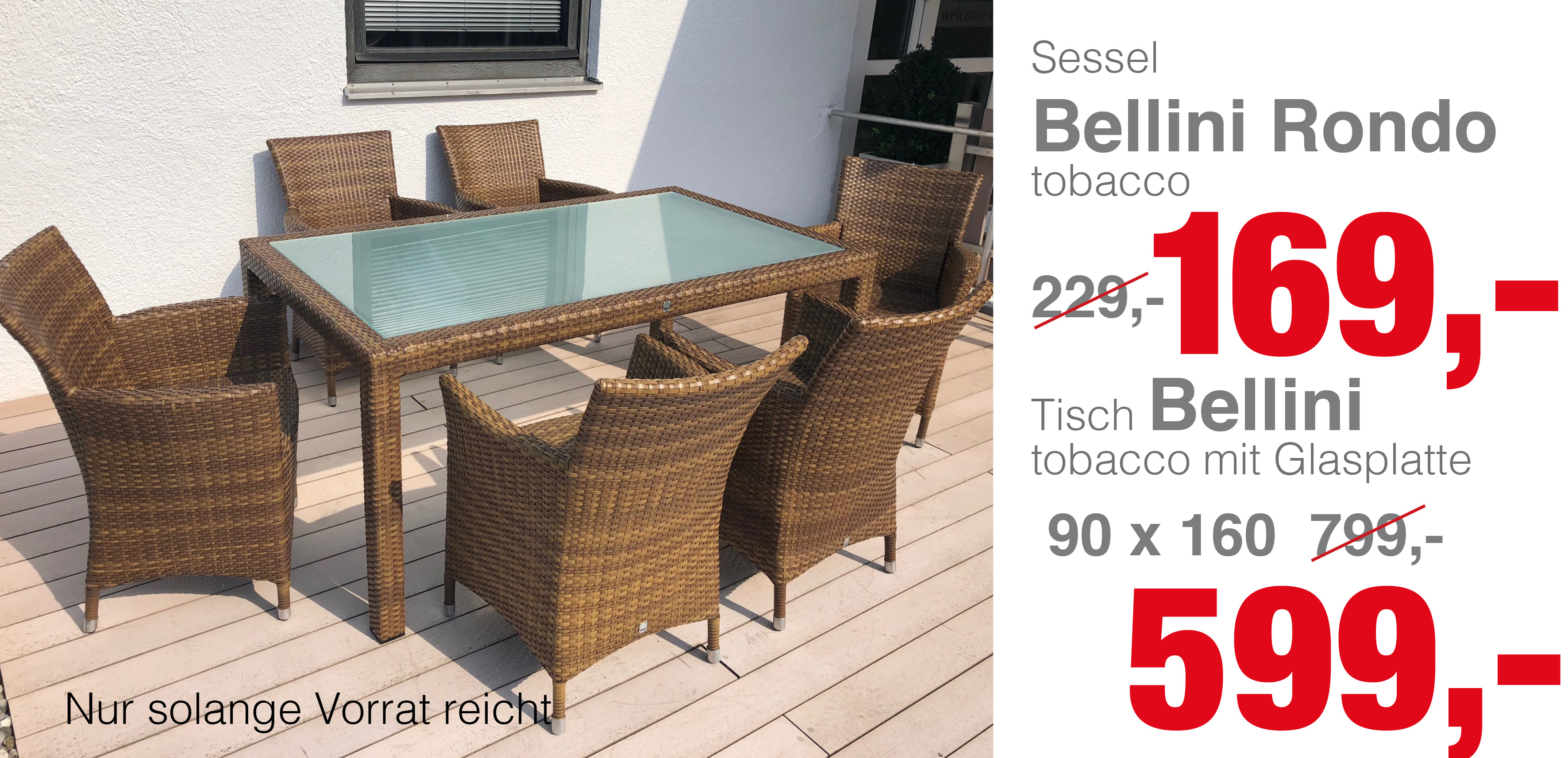 tisch bellini tobacco mit glasplatte mbm gartenm bel lagerverkauf. Black Bedroom Furniture Sets. Home Design Ideas